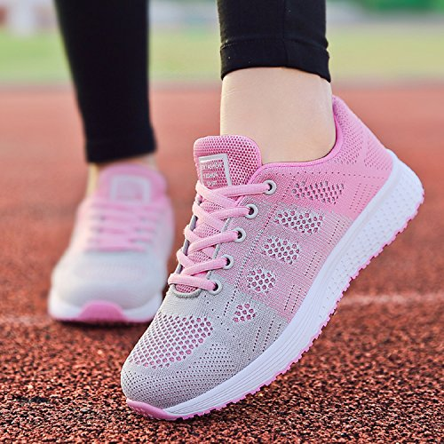 LILY999 Zapatillas de Deportivos de Running Para Mujer Gimnasia Ligero Sneakers Fitness Rosa