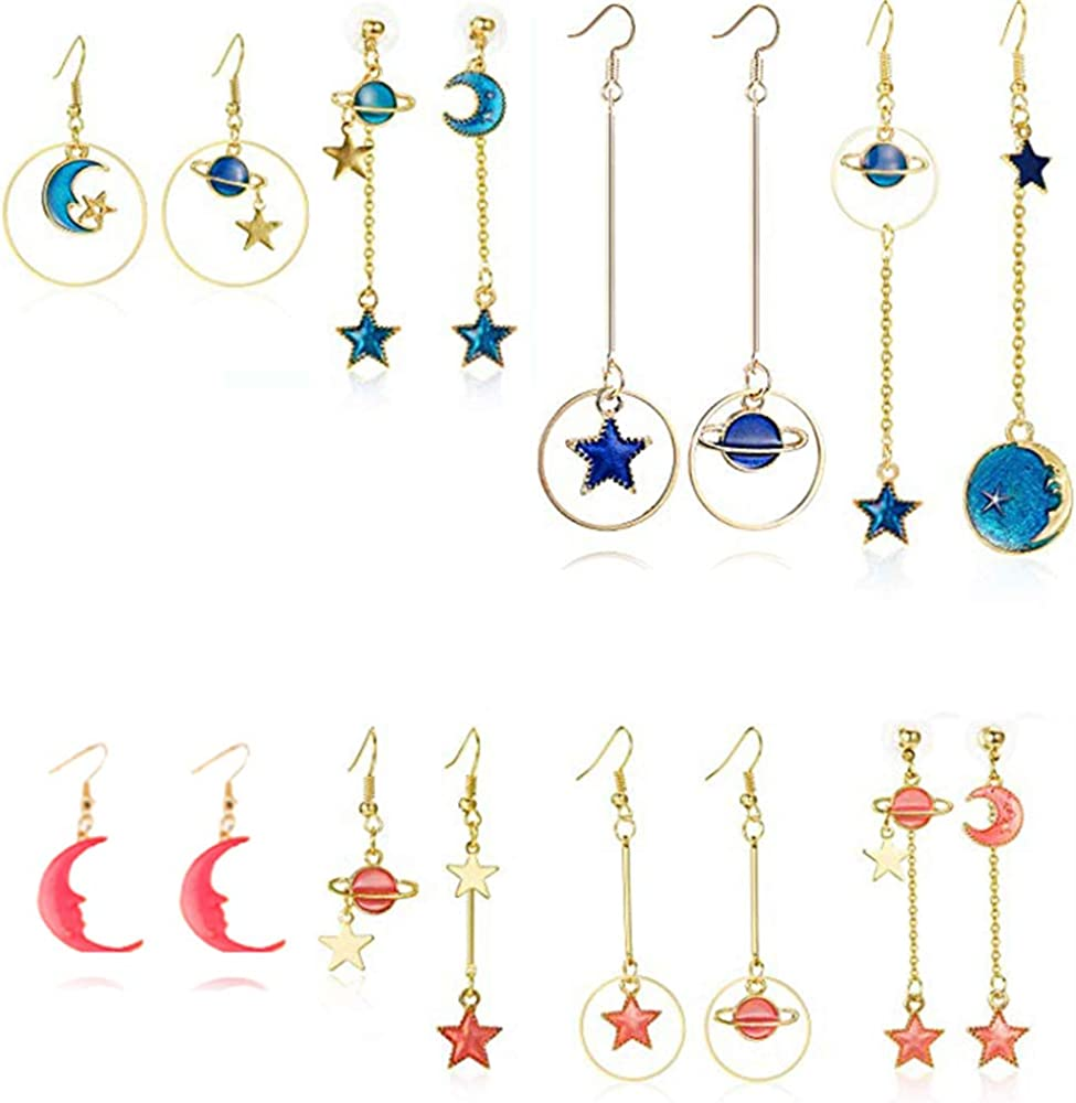 Gmillions Fashion 8 Pairs Moon and Star Earth Planet Drop Asymmetric Earrings Long Pendant Dangle Jewelry for Woman Girls