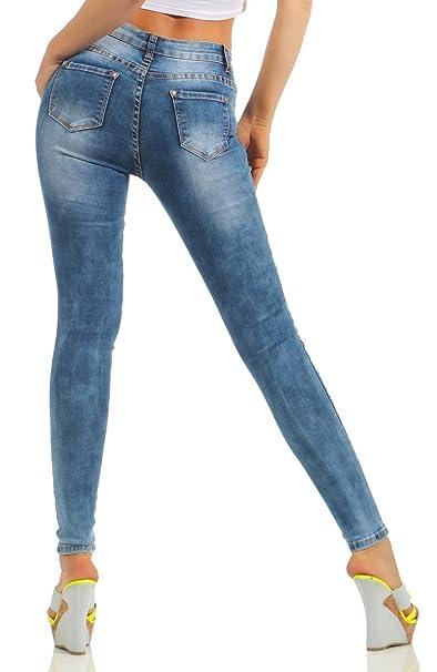 451da9fe6541 Fashion4Young Damen Jeans Röhre Skinny Damenjeans Stretch Denim Destroyed  Cut-Outs Risse  Amazon.de  Bekleidung