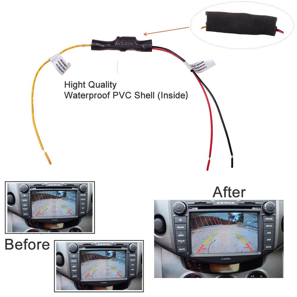 Car Reverse Backup Parking Camera Dc 12v Power Filter Pyle Wiring Diagram On Time Delay Switch Adapter Rectifier Anti Interference Install Kit For Vw Skoda Bmw Audi Benz By Hitcar