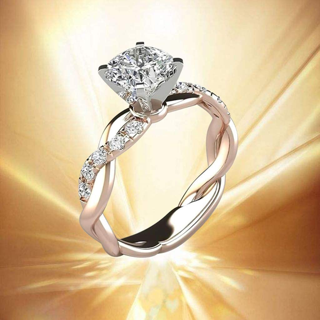 Koolee Silver Ring Bridal Zircon Diamond Elegant Engagement Wedding Band Rings Rings Jewelry Size 6 7 8 9 10