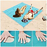 Sand Proof Blanket Sand Free Beach Mat Fast Dry Waterproof Ultra Portable Lightweight Compact Large Beach Towel (Blue, 79''×59'')