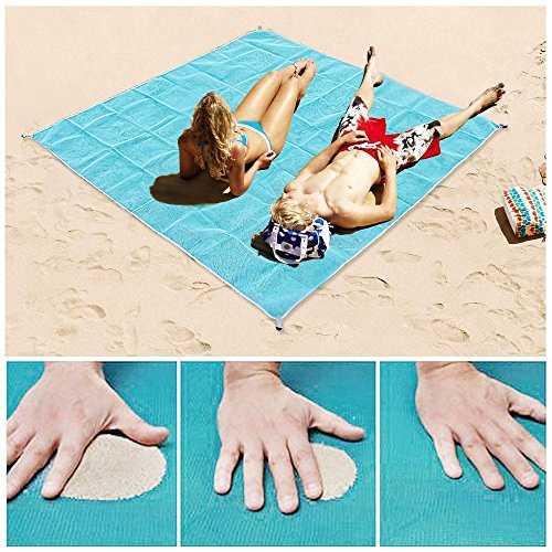 Sand Proof Blanket Sand Free Beach Mat Fast Dry Waterproof Ultra Portable Lightweight Compact Large Beach Towel, Blue, 79×79