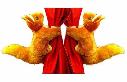 Tickles Squirrel Stuffed Soft Plush Toy Curtain Holder(20 Cm,Brown)