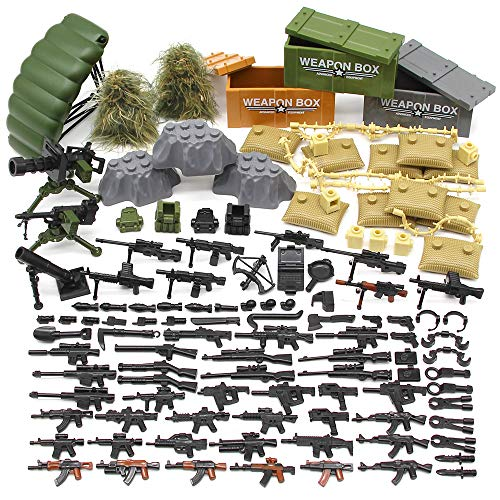 Feleph Military Army Weapons Toy Guns Accessories Building Blocks Toys Sets WW2 SWAT Custom Figure Modern Assault Equipment Pack DIY Gift for Boys Bricks Compatible with Major Brands
