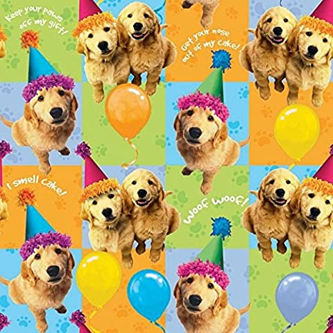 Adorable Party Pups in Hats Gift Wrapping Paper With Hang Tab, , 5' x 30 Inches, Pack of 6 Rolls - Golden Retriever Wrapping Paper
