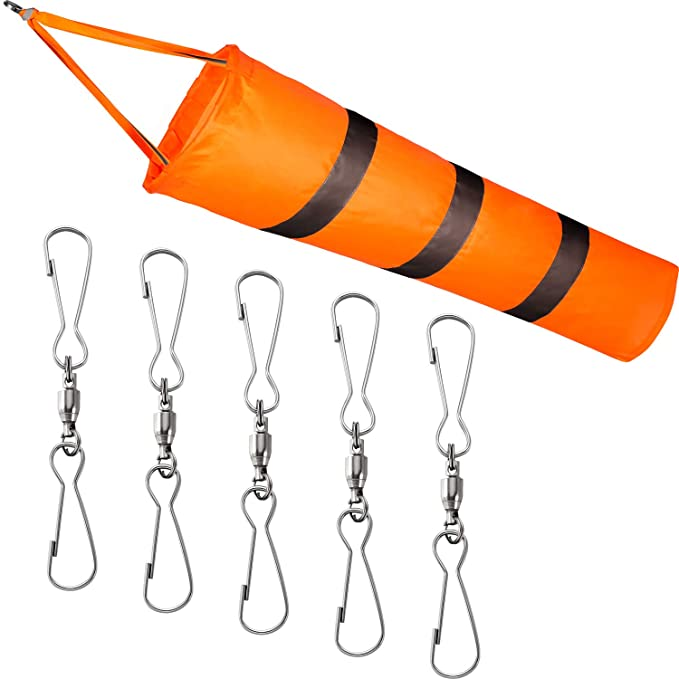 Blulu Windsock Dual Swivel Clip Kit 1 Piece Airport Windsock Orange Wind Sock Bag with Reflective Belt and 5 Dual Swivel Clips for Wind Direction and Strength Indicating