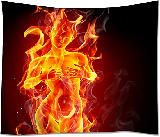 HommomH Wall Art Home Decor Tapestry 60 x 90 Wall Hanging Nude Girl Flame Fire Xexy