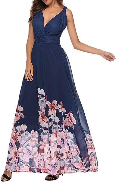 VEMOW Faldas Mujer Vestido Largo sin Tirantes con Cuello en V y ...