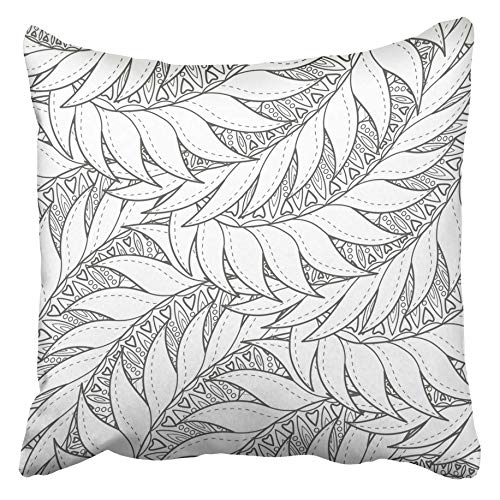 Emvency Decorative Throw Pillow Covers Cases Anti Abstract Pattern Drawing Adults Older Children Floral Black White Zentangle Ball 16x16 inches Pillowcases Case Cover Cushion Two Sided ()