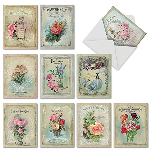 M6472OCB Scentiments: 10 Assorted Blank All-Occasion Note Cards Featuring Vintage Turn of the Century French Perfume Advertisements, w/White Envelopes.