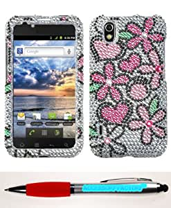 Accessory Factory(TM) Bundle (Phone Case, 2in1 Stylus Point Pen) LG LS855 (Marquee) Fantastic Flowers Full Diamond Bling Protector Cover Stylish Design Snap On Hard Case Faceplate Shell