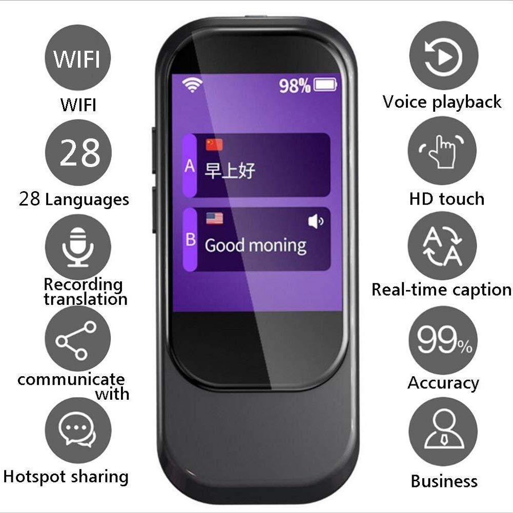スマート言語翻訳デバイス、音声翻訳WiFi 2.4インチIPS容量性タッチスクリーンサポート28言語学習向けビジネスショッピング (色 : ブラック)  ブラック B07QSXN1CN