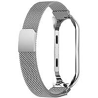 Kentop Cinturino per orologio in acciaio inox per Xiaomi mi Band 3, acciaio inox metallizzato, cinturino di ricambio per Xiaomi Mi Band 3