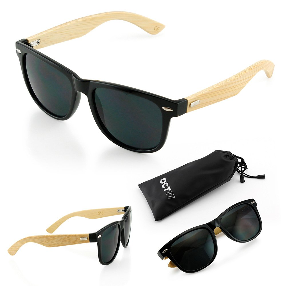 6db3cf227cef Amazon.com: Oct17 Wood Bamboo Wooden Vintage Sunglasses Eyewear for Mens  Womens - Black: Clothing