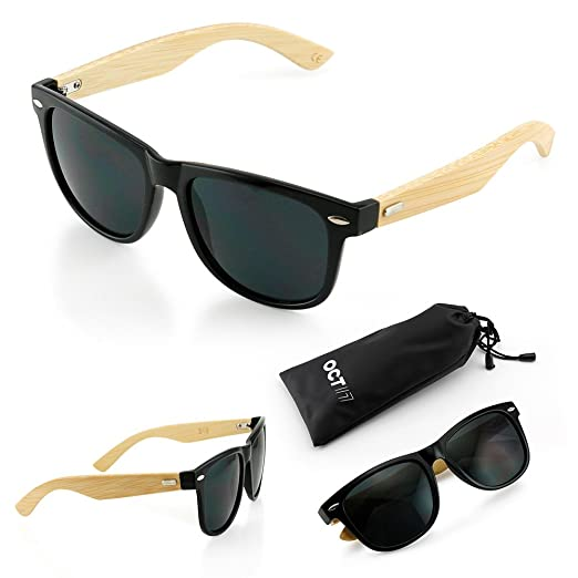 2464df55b5 Oct17 Wood Bamboo Wooden Vintage Sunglasses Eyewear for Mens Womens - Black