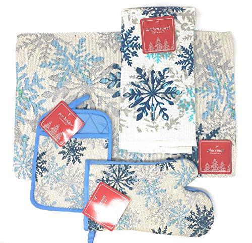 Snow Flakes Large Kitchen Set Bundle: Four Placemats, Oven Mit, Pot Holder, and Dishtowel