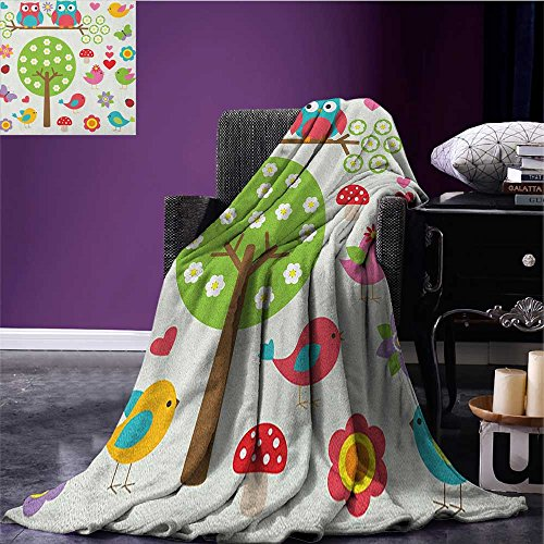 (Nursery throw blanket Birds and Owls in Spring Forest Colorful Lively Garden Blooms Nature Inspired Cute miracle blanket Multicolor size:51
