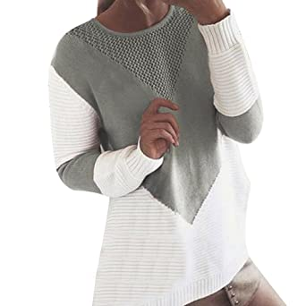 1194896d0147 Moonuy Femme Tricoté Oversize Pull Col Rond Manches Longues Casual Sweater  Pullover Tops Blouse Pull Hiver Pull à Capuche de Poche Blouse Robe Sweater  Long ...