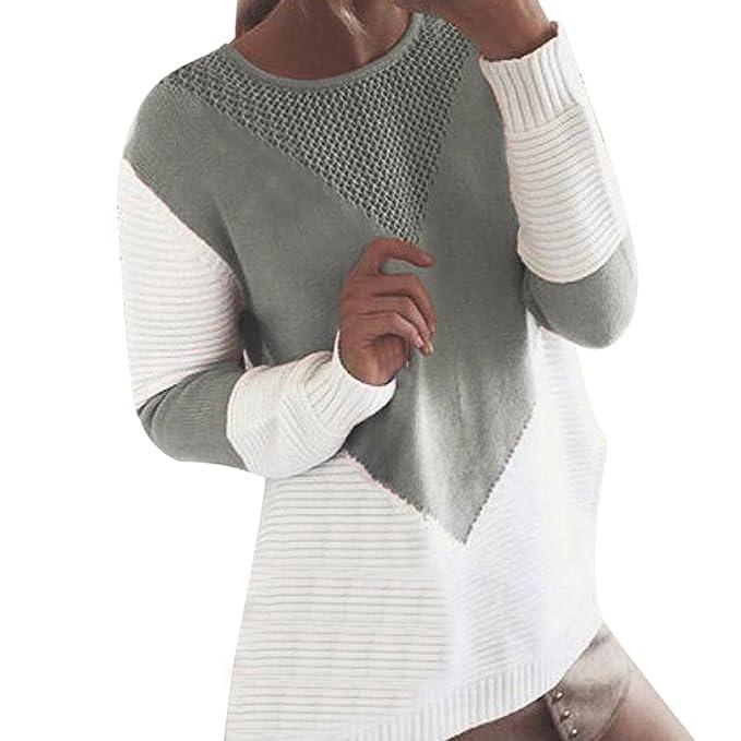 Suéter de Mujer Invierno Jersey Mujer otoño Blusa de Manga Larga Suéter de Punto de Color cálido para Mujer suéter de Punto Mujer suéter Mujer Manga Larga ...