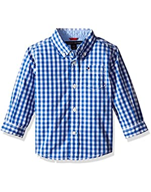 Tommy Hilfiger Baby Boys' Baxter Long Sleeve Yarn Dyed Poplin Woven Shirt