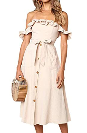 83fe06fccd HOYMN Women's Off Shoulder Ruffle Button Casual Summer Cocktail Bowknot Midi  Dress with Pocket Apricot