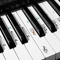kwmobile Klavier Keyboard Noten Aufkleber - für 49 61 76 88 Tasten Instrumente - Transparente Vinyl Piano Sticker für weiße Tasten - mit Anleitung