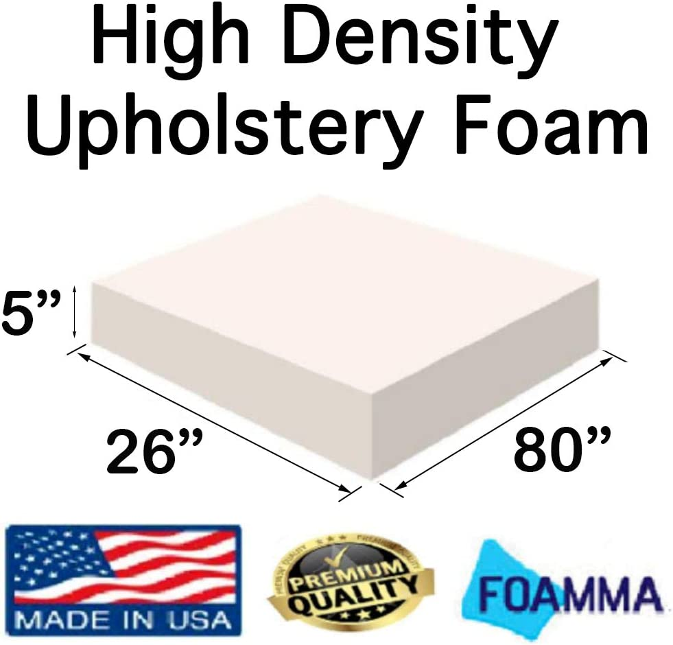 Chair Cushion Square Foam for Dinning Chairs, Wheelchair Seat Cushion Replacement FOAMMA/  1 x 26 x 80 Upholstery Foam High Density Foam
