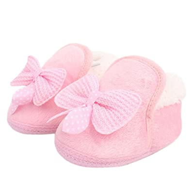 Bestpriceam Baby Boy Girl Bow-knot Shoes Toddler Winter Warm Boots Brow (12 CM, Pink)