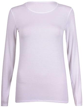 4b45eecb7 New Ladies Plain Stretch Fit Long Sleeve Womens T-Shirt Round Neck Basic  Top White Size 8 - 10: Amazon.co.uk: Clothing