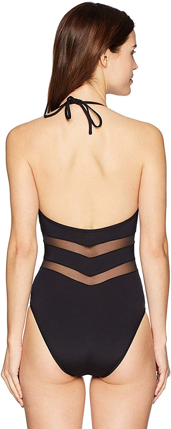 Kenneth Cole New York Womens V-Neck Halter One Piece Swimsuit