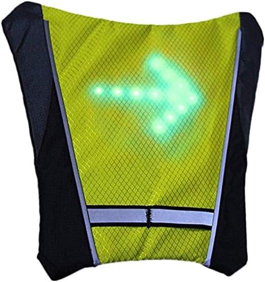 TXYFYP LED Intermitente Chaleco Reflectante, Bicicleta Impermeable Mochila con Control Remoto Carga USB Direction Indicador para Noche Ciclismo - Amarillo, Free Size: Amazon.es: Hogar