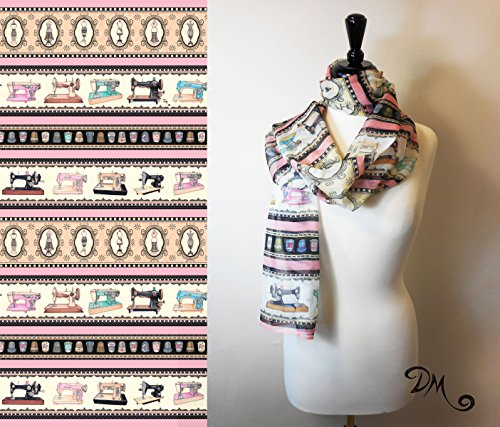 Vintage Sewing Quilting Themed Art Scarf by Dan Morris