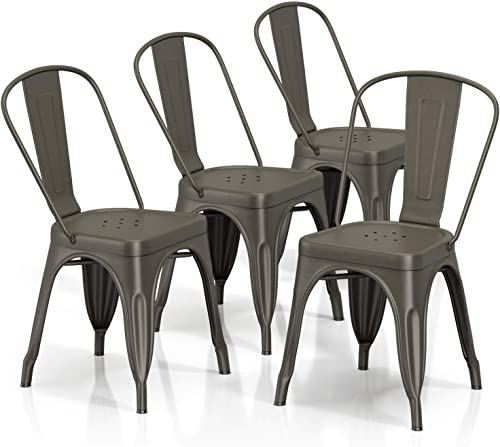 VIPEK 18 Inch Metal Kitchen Dining Chairs Indoor/Outdoor Use Heavy Duty Industrial Style Chairs Bar Chairs Stackable Dining Bistro Cafe Side Chair