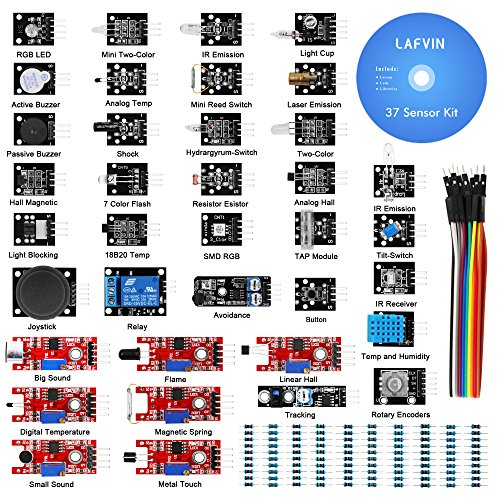 - LAFVIN 37 in 1 Sensor Module Kit for Arduino for UNO R3 Mega2560 Mega328 Nano with Tutorial