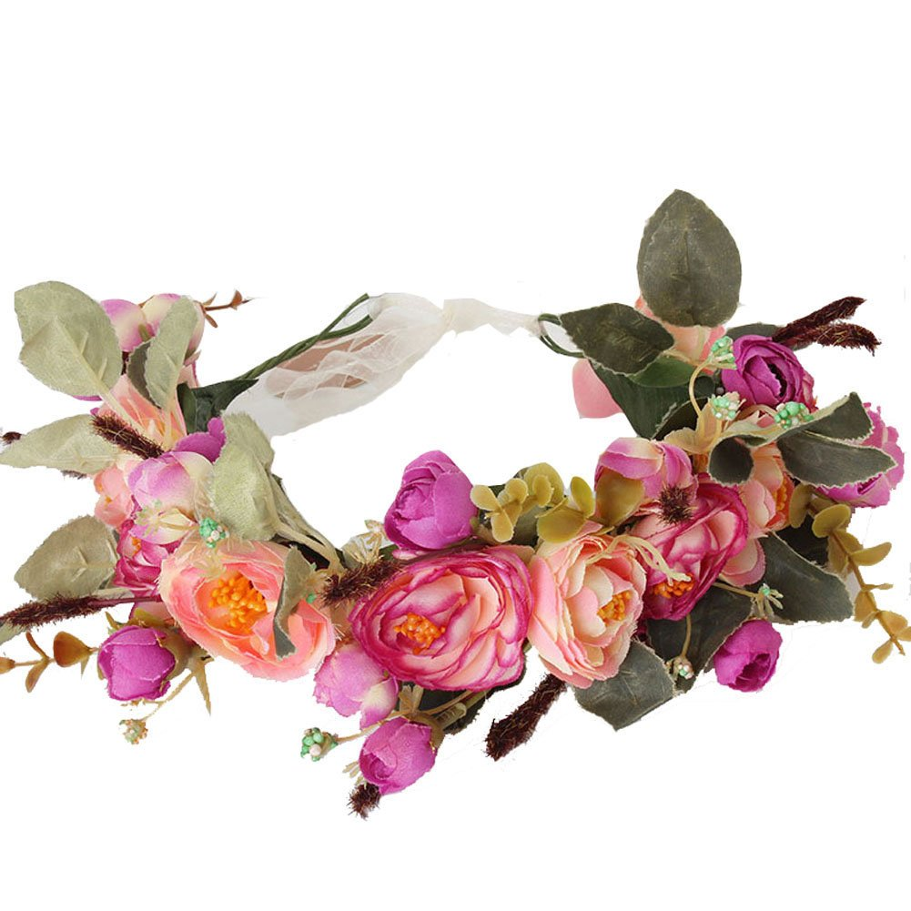 Amazon Meiliy Bridal Flower Garland Headband Flower Crown Hair