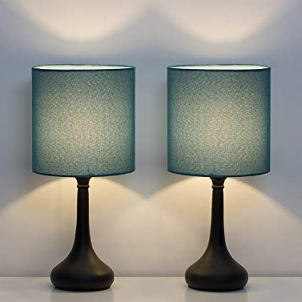 Haitral Bedside Table Lamps Nightstand Lamps Set Of 2 Modern Desk Lamp For Bedroom Living Room Office With Metallic Base And Fabric Shade Dark