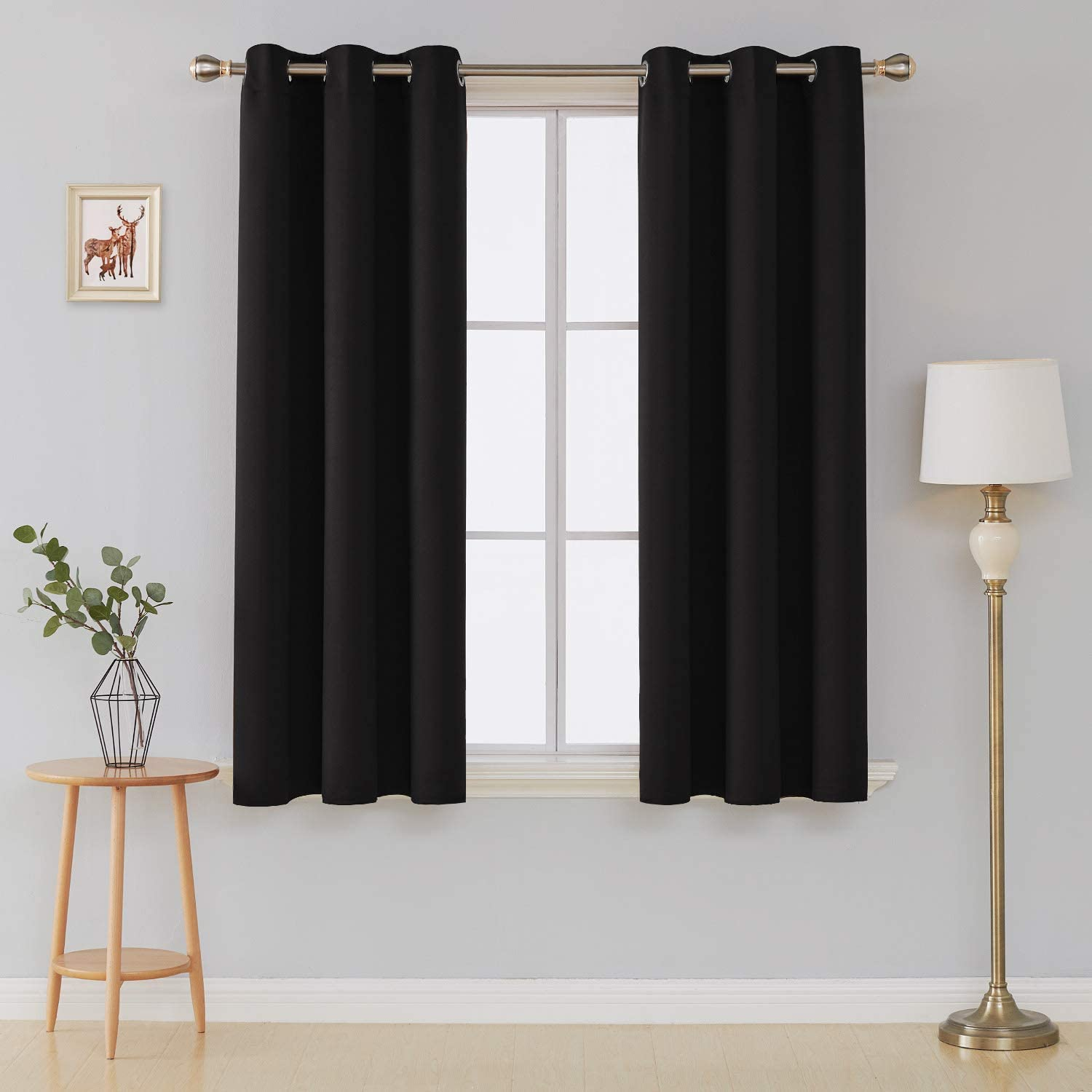 Deconovo Window Curtain Panel Room Darkening Thermal Insulated Curtains 42 Inch by 54 Inch Black 2 Curtain Panels