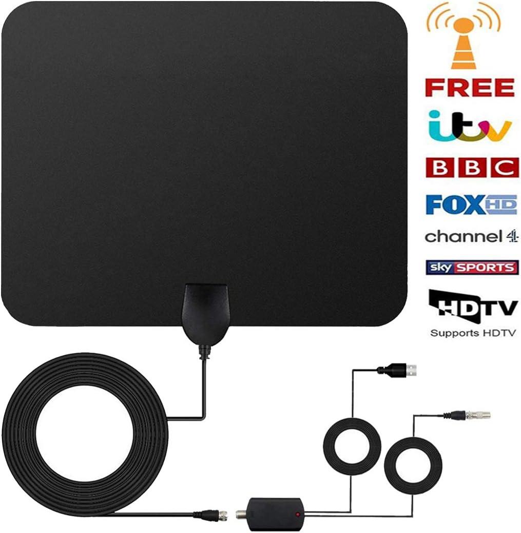 Nueva Versión 2019] Antena TV Interior, Antena de TV de Rango Amplificado de 95 km (60 Millas) Antena TDT con Amplificador de Señal y Cables de Alto Rendimiento (Negro): Amazon.es: Electrónica
