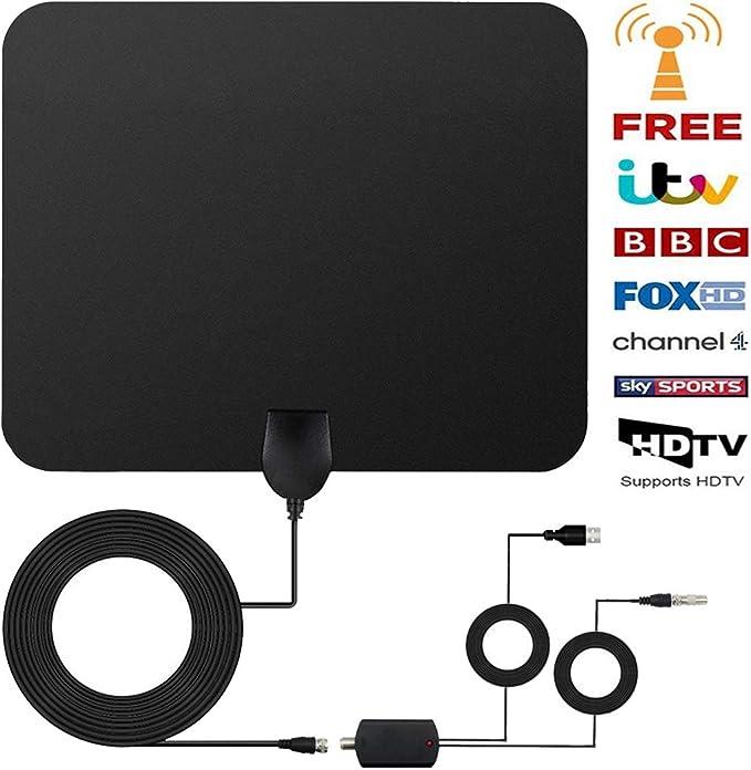 Antena TV Interior, [Nueva versión 2020] Antena Interior TDT 80+ Millas con Amplificador de Señal y Cable Coaxial de 13.2 FT, Digital HDTV Antena Portatil para DVB-T TDT: Amazon.es: Electrónica