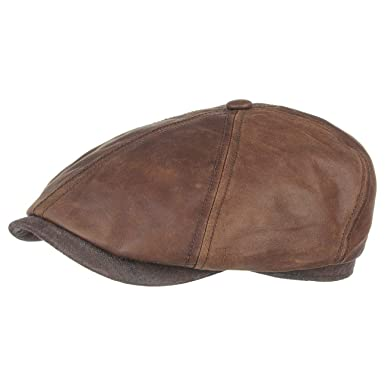 d04dac63948 Stetson Brooklin Leather Flat Cap winter caps men´s  Amazon.co.uk ...