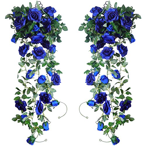PARTY JOY 6.5Ft Artificial Rose Vine Silk Flower Garland Hanging Baskets Plants Home Outdoor Wedding Arch Garden Wall Decor,Pack of 2 (Royal (Royal Blue Wedding Centerpieces)