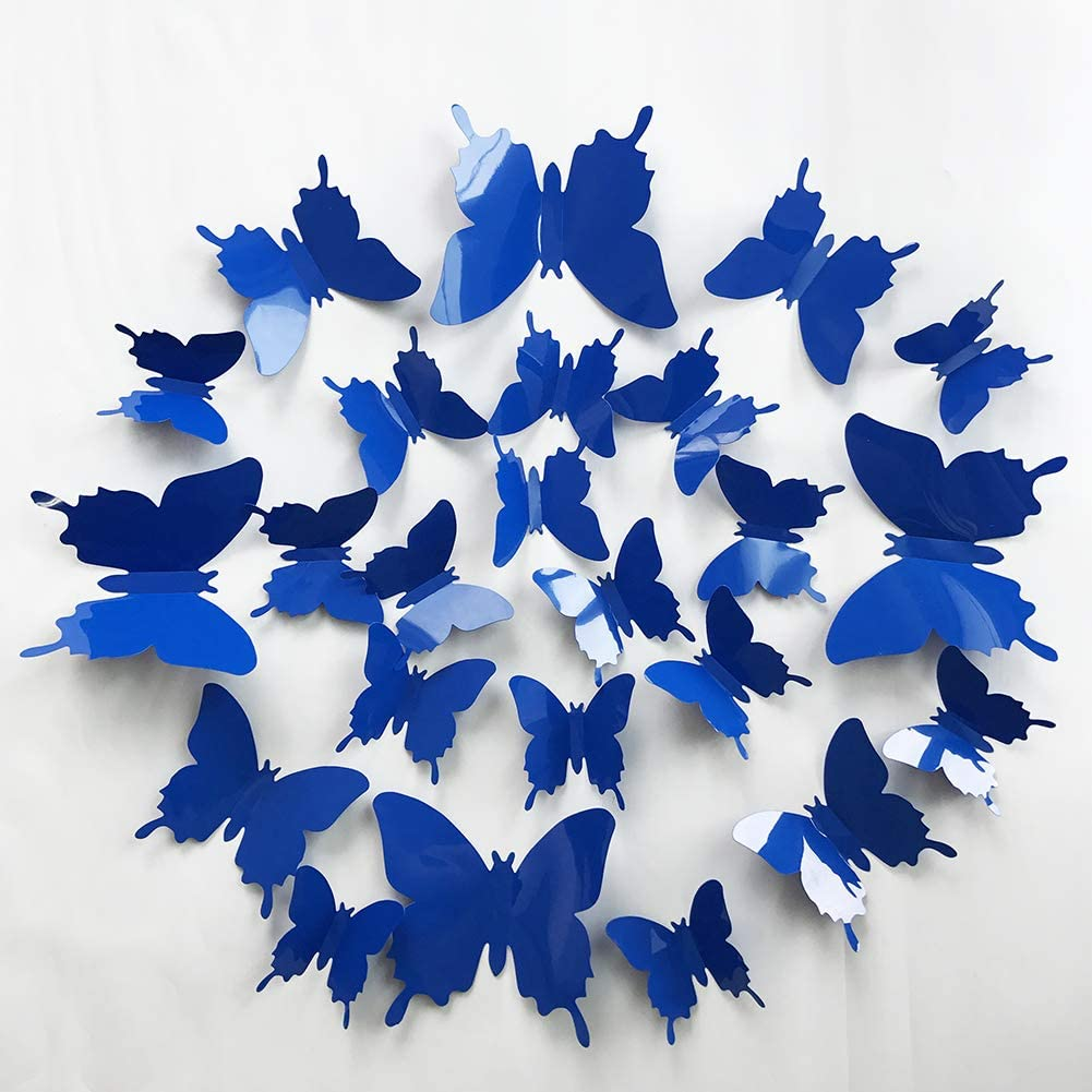 V-Time 3D Royal Blue Butterfly Wall Stickers 24 pcs Removable Mural Stickers Wall Stickers Decal for Home and Room Decoration Kids Room Bedroom Decor Living Room Sticker (Dark Blue)
