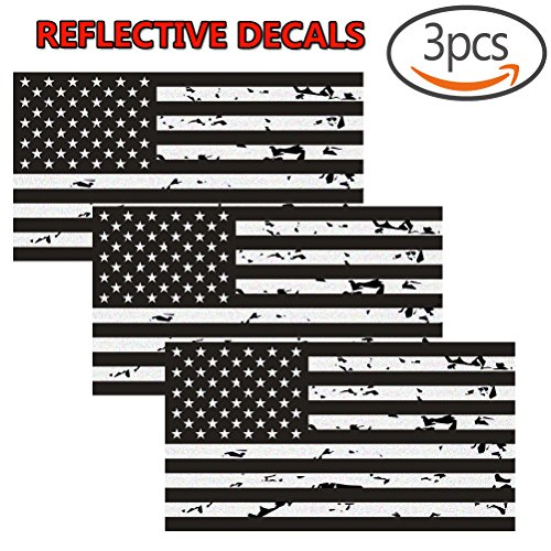 American Flag Window (Reflective Subdued Tattered American Flag Sticker 2.7