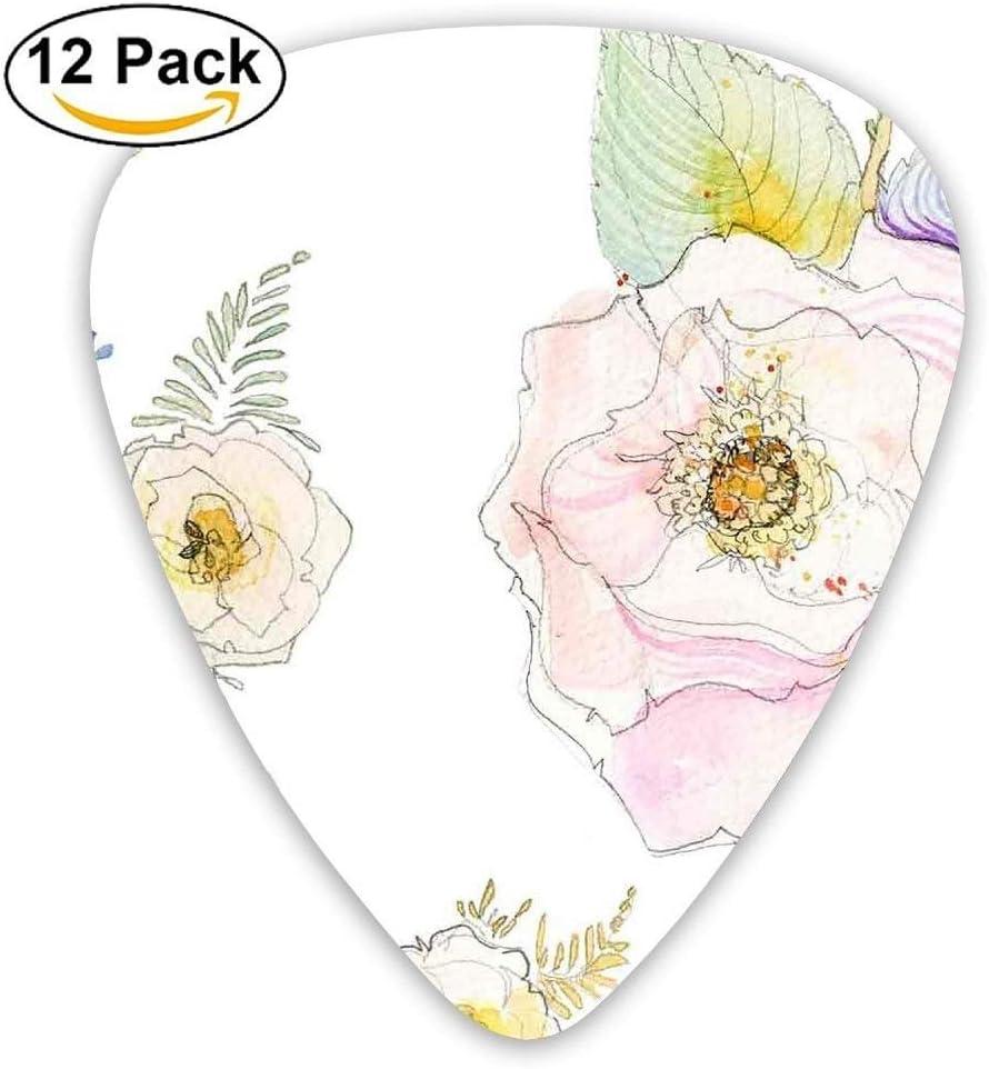 Paquete de 12 púas de guitarra personalizadas con dibujo de flores ...