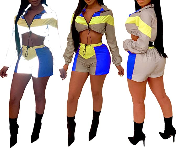 888ee89a36 Womens 2 Pieces Outfits Jumpsuits Fully Reflective Crop Top Mini Dress Set  Club Wear