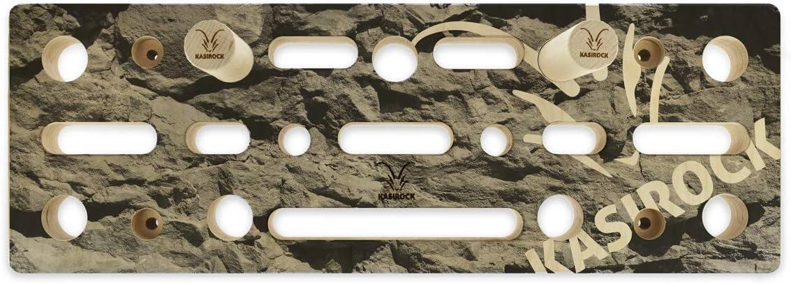 KASIROCK Comboboard Pegboard - Tabla para dedo, 9 ranuras para barras redondas y 10 agujeros para los dedos para diferentes asas, 60 x 21 x 4 cm, ...