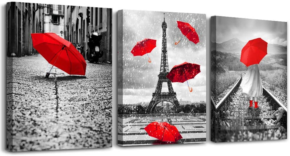 Black and white landscape Eiffel Tower 3 Piece Wall Art for Living Room Bathroom Decorations Kitchen Wall decor modern red umbrella Poster Canvas Print Office Bedroom Home Decoration wall paintings