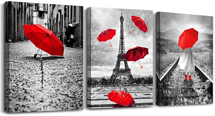 Amazon Com Black And White Landscape Eiffel Tower 3 Piece Wall Art For Living Room Bathroom Decorations Kitchen Decor Modern Red Umbrella Poster Canvas Print Office Bedroom Home Decoration Paintings Posters