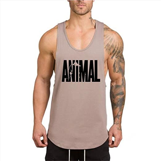 28e6c0512104f Amazon.com  YeeHoo Men s Animal Gym Workout Stringer Tank Tops Bodybuilding  Fitness Athletic Vest Side Cut M-XXL  Clothing
